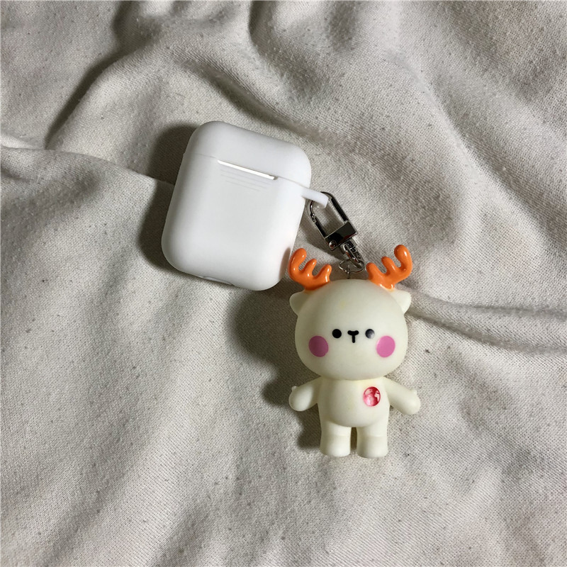 Cute Cartoon Deer Keychain Silicone Case Earphones For Apple Airpods i12 TWS Bluetooth Headphone Protective Skin Cover in Key Chains from Jewelry Accessories