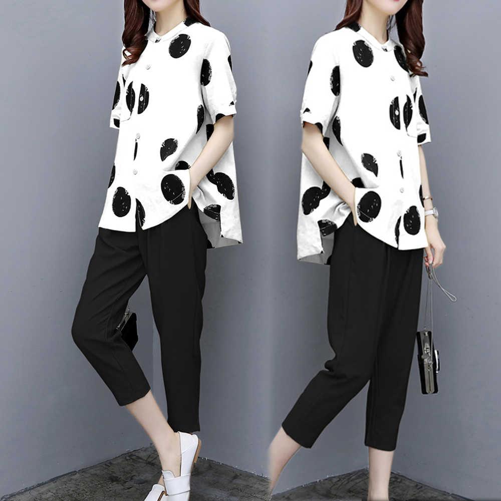 白一致する女性のため 2 ピースセット衣装ポルカドットトップとパンツスーツプラスサイズ 2019 夏のトラックスーツ共同 -ord セット服