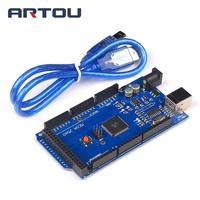 1pcs Mega 2560 R3 Mega2560 REV3 ATmega2560 16AU CH340G Board ON USB Cable Compatible For Arduino