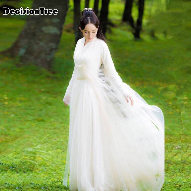 2020 Chinese Dress Bai Qian Elegant Fairy Costume Hanfu For Women To The Sky Kingdom Hanfu Blossom Cosplay Oriental Costume