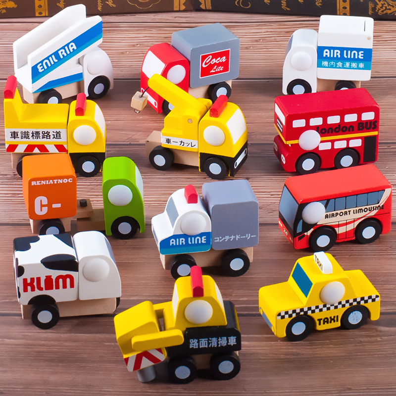 Baby Toys Wooden Children's Color Mini Plane 12 Piece Set and Wind Eries Model Infant Puzzle Cognitive Toys
