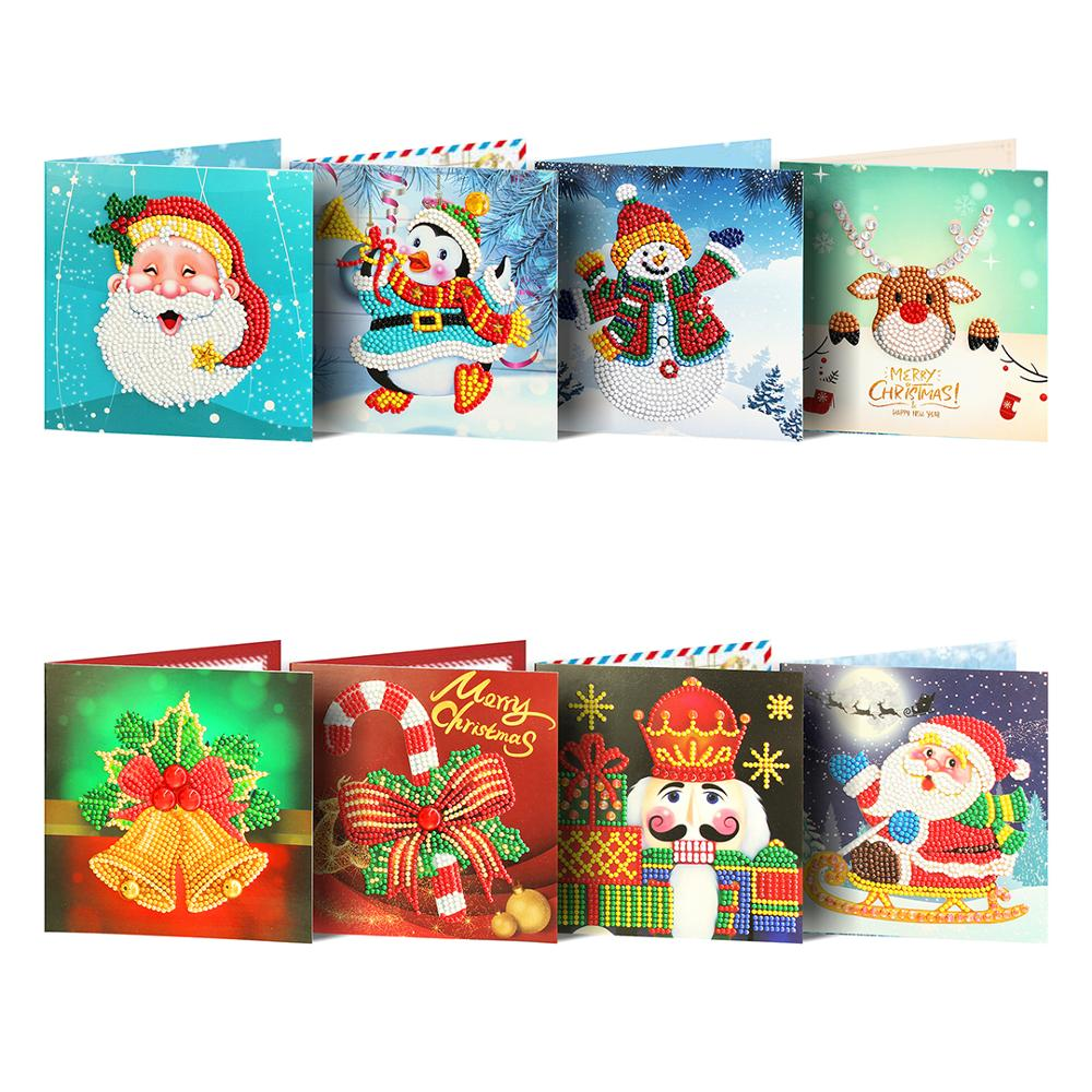 Shirliben 3D Diamond Painting Christmas Card For Girl Kids Wife Birthday Cake Greeting Card Postcards Gifts Card With Envelop