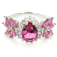 3.6g Real 925 Solid Sterling Silver New Designed Pink Tourmalins CZ Woman's Rings US 7.25# 24x13mm
