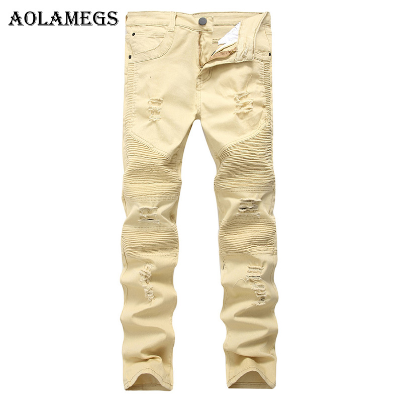 Aolamegs Men Jeans Hole Pants Khaki Fold Pleated Solid Light Colour Full Length Trousers Summer Splicing Button Denim Straight