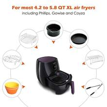 Air Fryer Accessories 8 Inch for 5.8 qt XL Air Fryer, 9 pieces for Gowise Phillips and Cozyna Air Fryer, Fit 4.2 qt to 5.8 qt,(China)