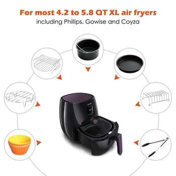 Air Fryer Accessories 8 Inch for 5.8 qt XL Air Fryer, 9 pieces for Gowise Phillips and Cozyna Air Fryer, Fit 4.2 qt to 5.8 qt, - DISCOUNT ITEM  44% OFF All Category