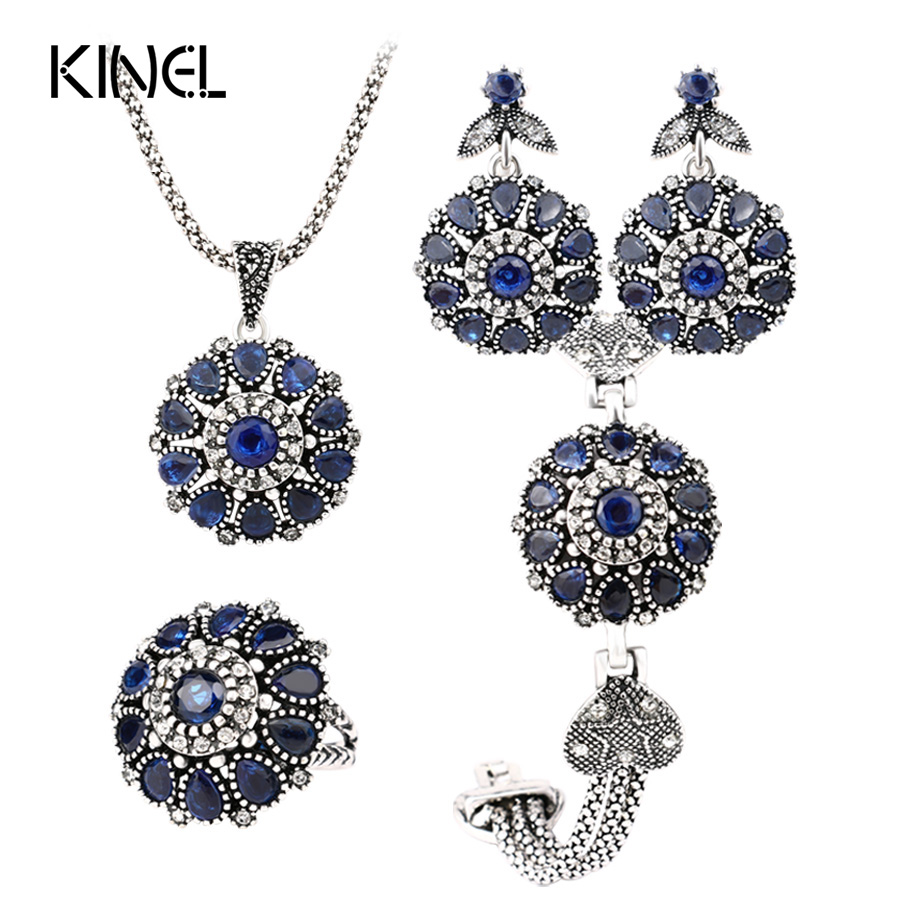Hot Luxury 4Pcs Vintage Jewelry Sets Silver Color Round Flower Crystal Ring Earring Bracelet And Pendant Necklace Set