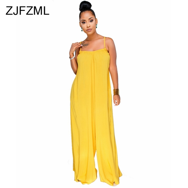 b7c08b889a596 ZJFZML Spaghetti Strap Sexy Loose Rompers Summer Sleeveless Backless Plus  Size Jumpsuit Casual Yellow Wide Leg Overall For Women
