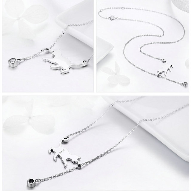 925 Sterling Silver Chain Cat Pendant Necklace