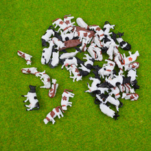 100pcs Scale 1 150 Model Painted Mixed Color Farm Animals Cows for Model Architecture Layout
