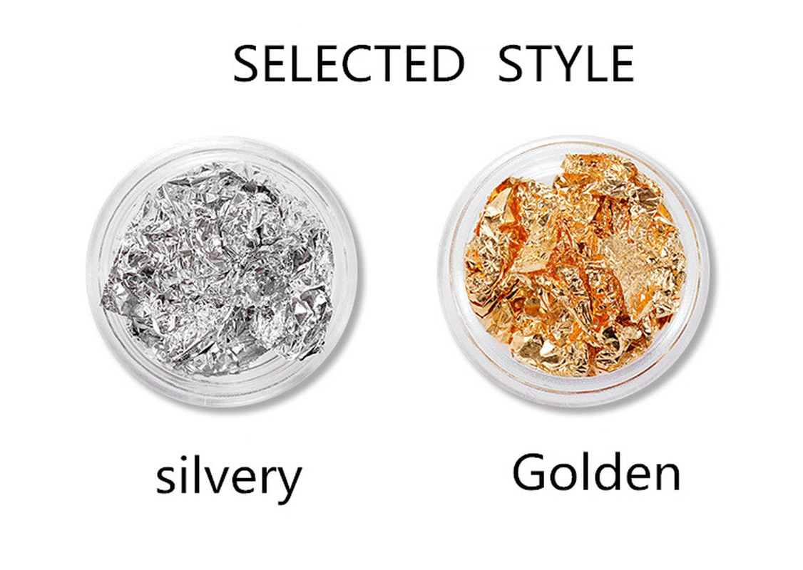 Gold Silver Glitter DIY Nail Foil Sticker Gel Adhesive Glue Image Transfer Paillette Flake Full Cover Decal Decor 1box