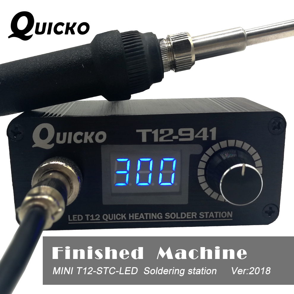 Mini T12 LED Estación de soldadura electrónica hierro 2017 Nuevo diseño DC versión portátil T12 hierro digital T12-941 quicko