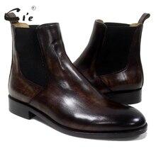 Cie/ботинки «Челси» с круглым носком; мужские ботинки ручной работы на заказ из натуральной телячьей кожи; дышащие ботинки; коричневый с оттенком патины; A-02-11