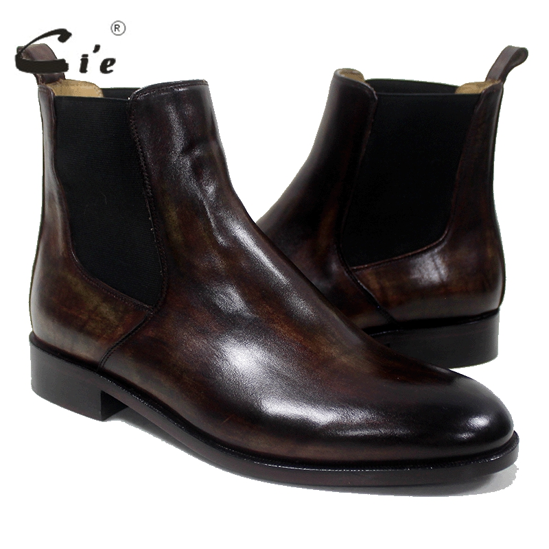 cie Round Toe Chelsea Boot Bespoke Handmade Pure Genuine Calfskin Leather Outsole Breathable Men's Boots Patina Brown A-02-11