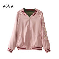 Pltsa Women S Jacket Jacket 2017 European And American New Net Red Double Embroidered Baseball Jacket