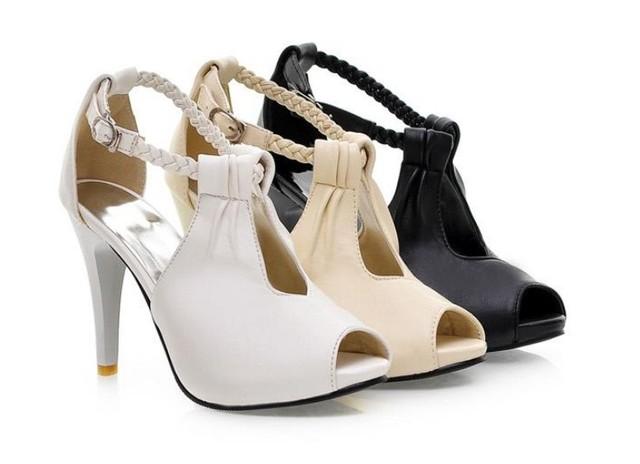 2016 verano nuevos zapatos de tacón alto cabeza de pescado sandalias impermeables huecos hebilla OL tacones altos de las mujeres de Gran tamaño zapatos de las mujeres