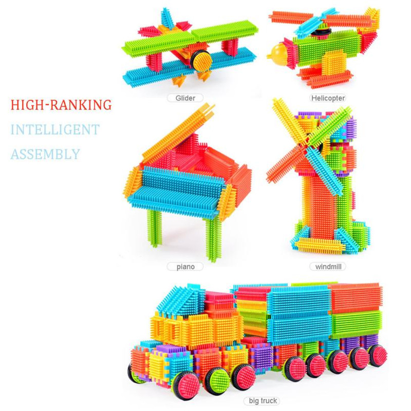 Block Toys 120pcs Bristle Shape 3D Building Blocks Tiles
