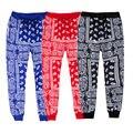 ISTider Moda Anacardos Estampado de Flores pantalones de Chándal de Las Mujeres/Hombres Pantalones 3D Corredores Hombres Hip Hop Pantalones Estrella Mismo Párrafo Negro azul Rojo