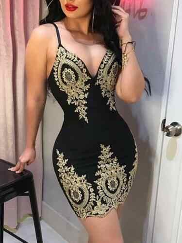 2019 nouveau femmes mince impression arrivée fronde Spaghetti moulante dentelle à bretelles dames soirée Mini robe courte taille S-XL col en V