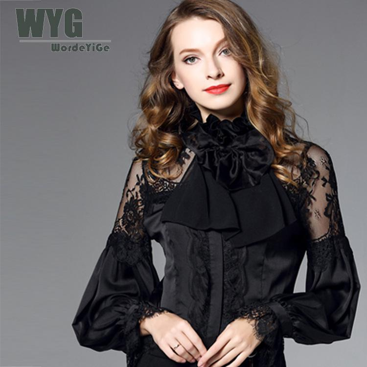 Здесь продается  Famous Brand White Shirt Women 2018 Spring New Ruffle Stand Collar Bow Tie Lace Trim Casual Long Sleeve Chiffon Blouse WYG  Одежда и аксессуары