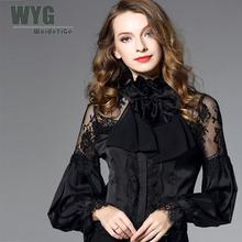 купить Famous Brand White Shirt Women 2018 Spring New Ruffle Stand Collar Bow Tie Lace Trim Casual Long Sleeve Chiffon Blouse WYG в интернет-магазине