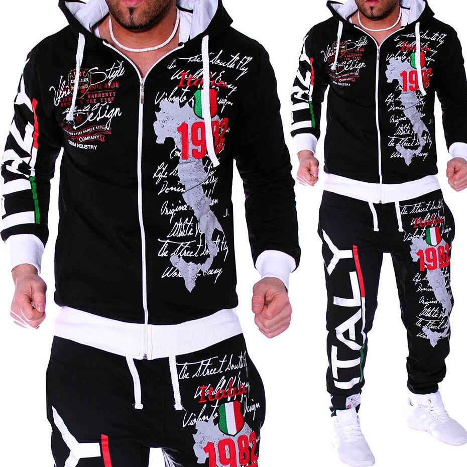 Zogaa 2019 New Men Sport Suit Mens Track Suit Casual 2 Piece Set Fashion Color Block Hooded Sportswear Sweatsuit Male Sweatsuit