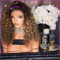 Два тона Ombre парик Бразильский Afro Kinky Вьющиеся Полный Шнурок Человеческих Волос парики 7А Странный Вьющиеся Кружева Перед Парики Человеческих Волос Полные Парики Шнурка