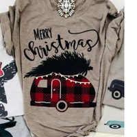 Plaid Car Top Gobble Tee Female Tshirt Christmas Tops Fashion Tee Womens T-shirts Gobble Korean Clothes Graphic Merry Christmas