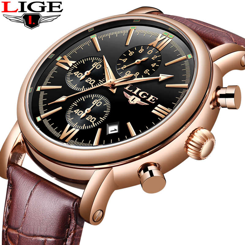 LIGE Fashion Men's Watches Top Brand Luxury Men Watch Mulifunction Quartz Watch Man Military Sport Wristwatch Relogio Masculino