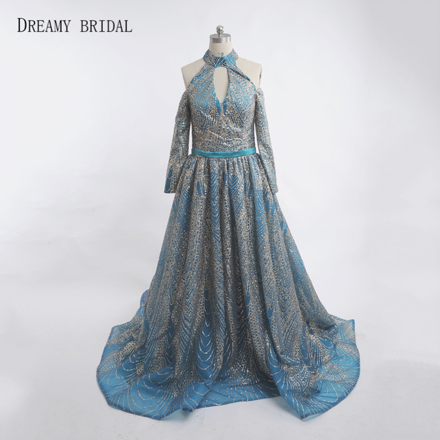 Dreamy Bridal Glitter Green Evening Dresses Halter Off the Shoulder Robe De  Soiree Long Sleeves Slits Formal Gowns Custom Made 1697b63a8536
