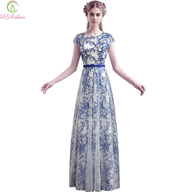 Evening Dress SSYFashion Bride Banquet Lace Long Party Gown Elegant Blue  and White Porcelain Embroidery Long Prom Dresses 8de9bf6b7cd4
