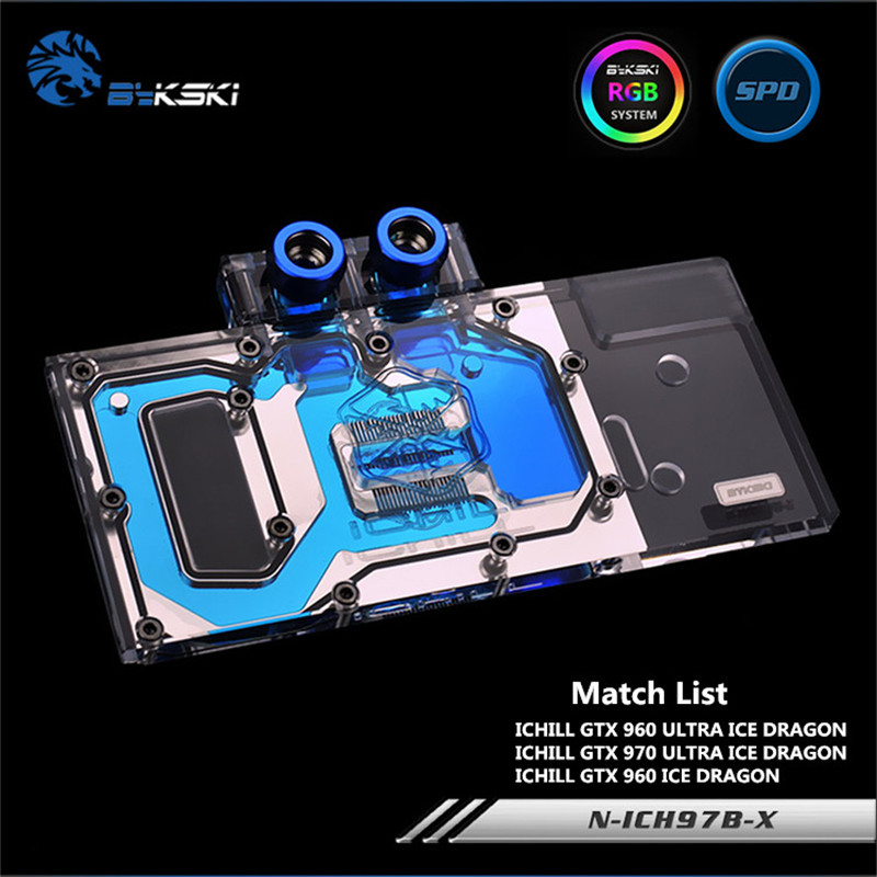 Bykski Full Coverage GPU Water Block For ICHILL GTX960 GTX970 Ice Dragon Graphics Card N-ICH97B-X computador cooling fan replacement for msi twin frozr ii r7770 hd 7770 n460 n560 gtx graphics video card fans pld08010s12hh