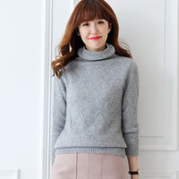 Lafarvie Pull Femme 2017Autumn Winter Women Sweaters And Pullovers Turtleneck Plaid Thick Knitting Female Loose Cashmere