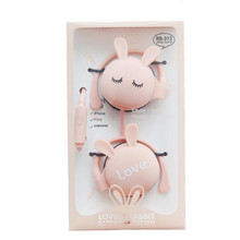 Cute Rabbit Headphones Stereo Ear Hook Sport Wired Earphones Headset With Microphone Earbud For Xiaomi MP3 Daughter Gift