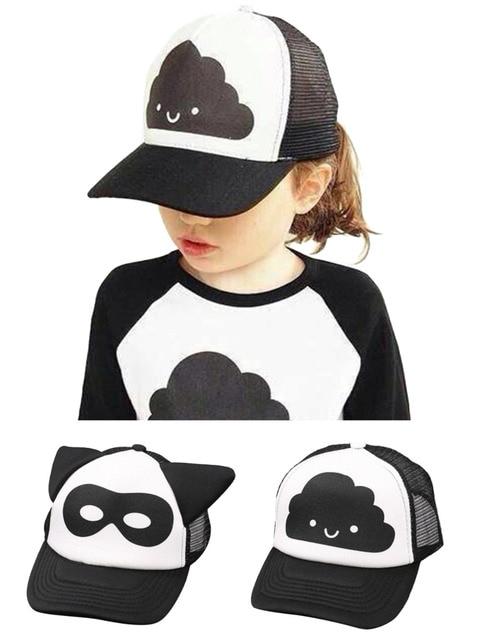 Top 2015 Kids Toddler Mesh Trucker Hat Little Girl Boy s Baseball Cap Black  and White b00e1a3e251