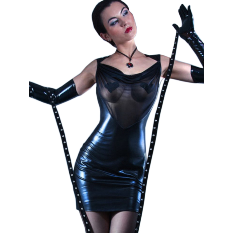 Dream Vine  New Mesh Vinyl Leather Backless Night Club Dresses For Woman Sexy Hot See Through Empire Waist Black Sleeveless Robe