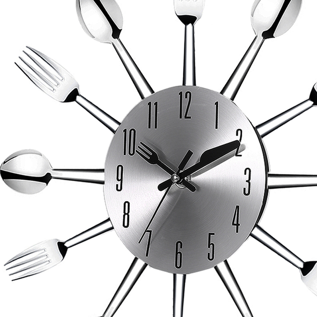 Online Shop 3D Large Wall Clock Modern Design Stainless Steel Fork