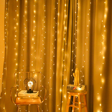 3*3m LED Copper Wire Curtain String Lights USB Waterproof Fairy New Year Christmas Decorations for Home Navidad Xmas. Q