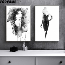 FOOCAME Black and White Woman Modern Abstract Paintings Watercolor Posters Prints Wall Art Canvas Home Decoration Pictures