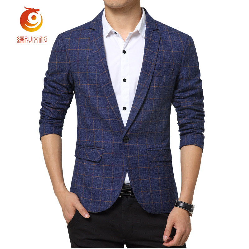 2017 New Arrive Mens Plaid Blazer Cotton Casual Coat Slim Fit Male Clothing Fashion Slim ...