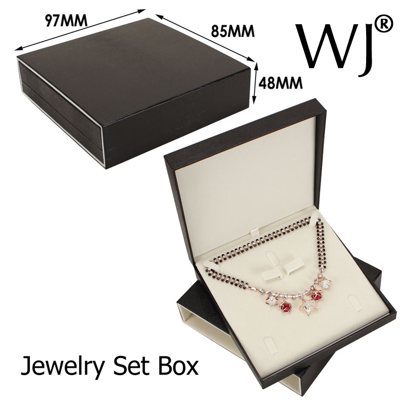 Upscale Faux Leather Gift Jewelry Display Box Bridal Chain Necklace Earring Ring Set Bo Pendant Bracelet Flocked Case In Packaging