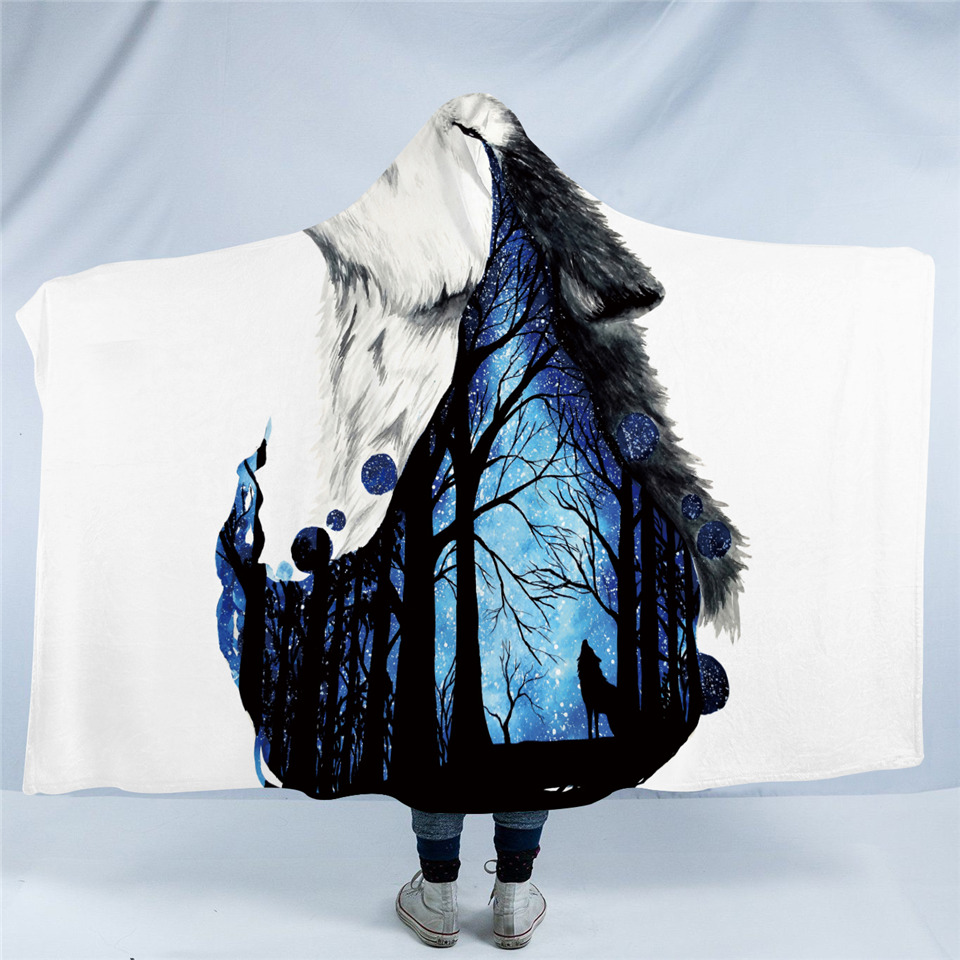 Howling Wolf Hooded Blanket