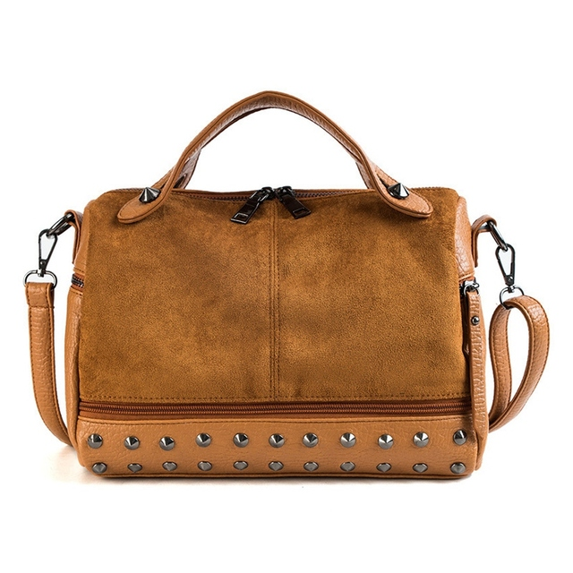 58ceb2bc8edd ... женская сумка на плечо, большие винтажные тоут. FGGS Fashion Women Top  Handle Bags With Rivets Leather Female Shoulder Bag Large Vintage Tote Bags