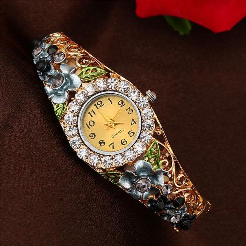 af49a686ed US $2.71 40% OFF|Blatt Uhr 2019 18 K Gold Luxus Frauen Uhr Bunte Abstrakte  Emaille Farbe Kristall Strass Armreif Armbanduhren Armband Uhr in Blatt Uhr  ...