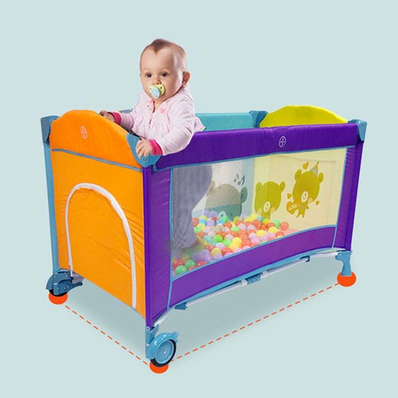 Lit de bébé Portable européen lit de jeu pliable multifonctionnel bébé garçons filles lit pliant voyage lit de jeu chariot Portable - 4