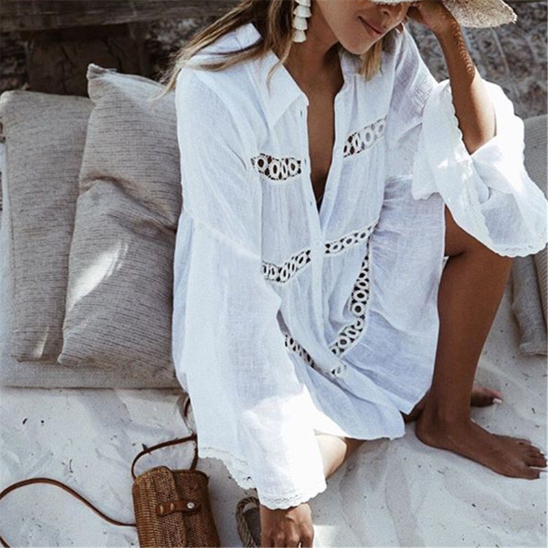 2019 Summer Fashion Sexy Dress Women Beach Clothes Long Sleeve Turn-Down Collar White Floral Loose Cover Up Wear Dress Ladies