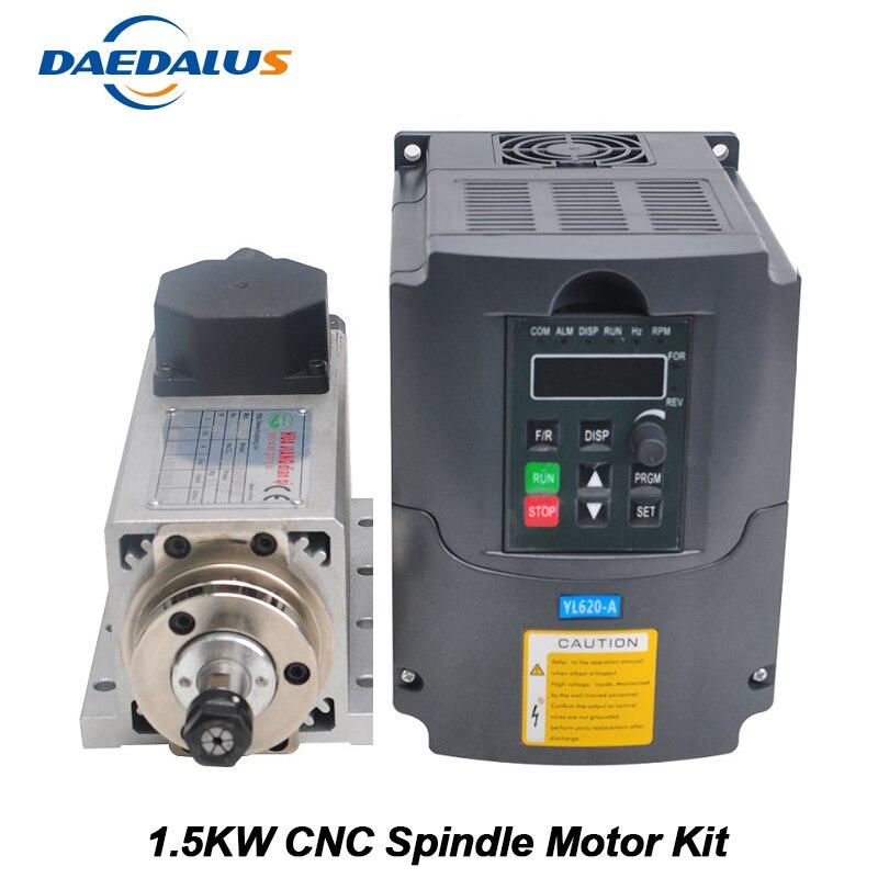 CNC Spindle 1.5KW Air Cooled Spindle ER11 Milling Motor Machine 220V VFD Inverter Converter 13pcs ER11 Collet For Engraving