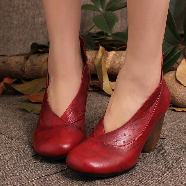 2017 Retro Style Handmade Shoes Women Chunky Heels Pumps Round Toe High Heels Genuine Leather