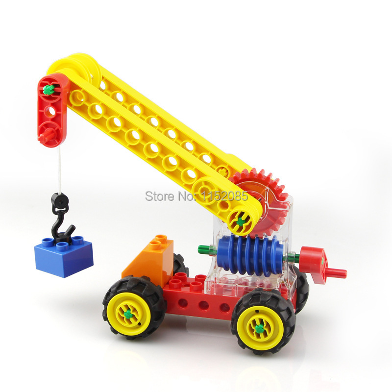 33pcs STEAM Building Blocks Worm Gear Crane Educational DIY Toys Levers Wheels Science Technology Mechanical Toys oil pump oiler kit with worm gear springchainsaw 034 036 ms360 worm