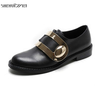 SHEHUIMEI Genuine Leather Women Flat British Style Oxford Creeper Shoes 2018 Fashion Metal Decoration Casual Shoes